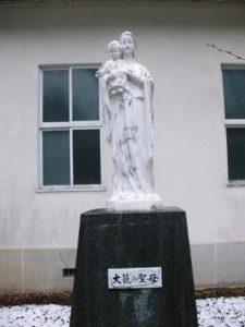 大籠カトリック教会マリア像塗装工事(施工前)