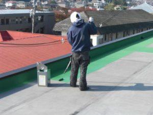 仙台市青葉区Kマンション屋上防水塗装(施工中)