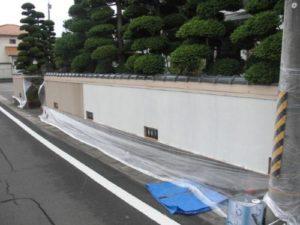 宮城県岩沼市Y様邸外塀塗装(施工中)